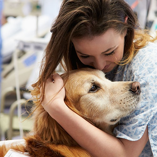 A woman in a hospital hugs a dog