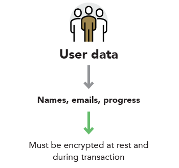 User data — Names, email, progress — Must be encrypted at rest and during transaction