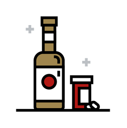 An icon depicting alcohol and drugs